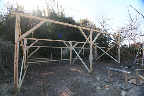 構造体完成 格安簡単小屋の作業 小屋大全