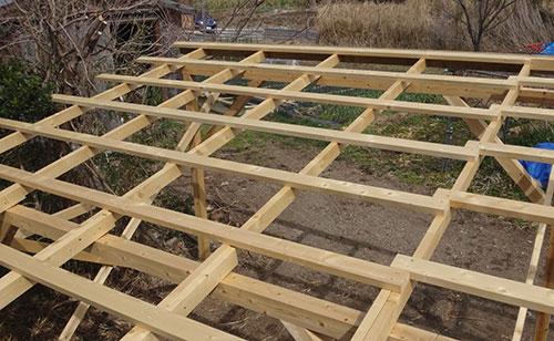 桟木の設置2×4 格安簡単小屋の作業 小屋大全