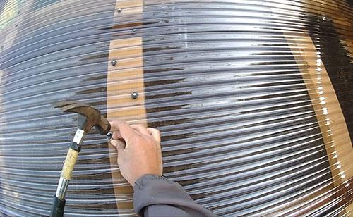 波板の固定方法(クギを打つ場所) 格安簡単小屋の作業 小屋大全